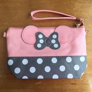 Pink and Grey Minnie Wristlet purse